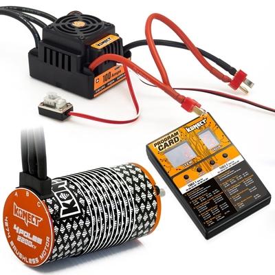 KONECT COMBO BRUSHLESS 1/8 100Amp WP + Moteur 4P. 4274 2200KV +carte de prog, KN-COMBO-L3