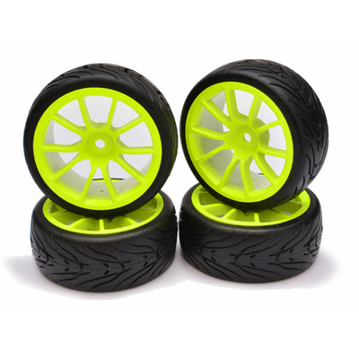 FASTRAX 1/10 STREET/TREAD TYRE 10SP NEON YELLOW WHEEL, FAST0072Y