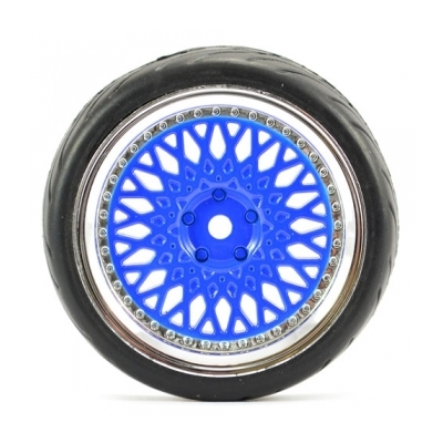 FASTRAX 1/10 STREET/TREAD TYRE CLASSIC BLUE/CHROME WHEEL, FAST0098BLC