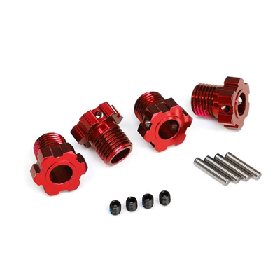 Traxxas Hexagones de Roue 17mm Rouge (x4) pour E-Revo VXL, 8654R