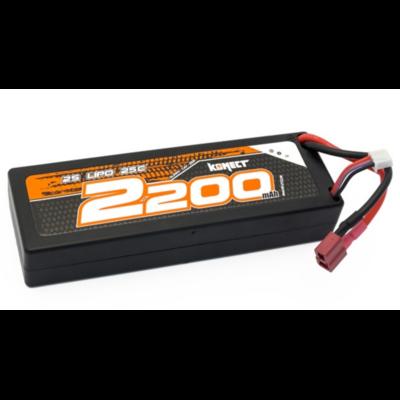 Konect Lipo 2200mah 7.4V 25C 2S1P 16.5Wh (Slim Pack Dean), KN-LP2S2200
