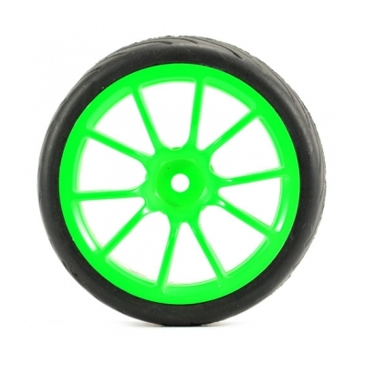 FASTRAX 1/10 STREET/TREAD TYRE 10SP NEON GREEN WHEEL, FAST0072G