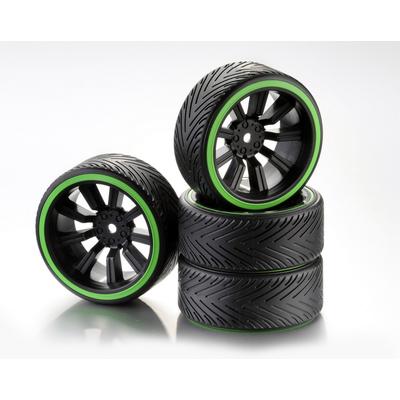 """ABSIMA Train de roues Drift 9 Rayon """"Comb/Profile A"""" Jantes noir / Bague néon vert 1/10ème (4pcs), 2510049"""