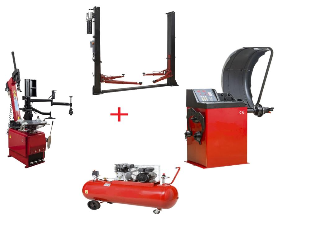 Pack Montage Équilibrage Runflat + Compresseur + Pont 220 Volts