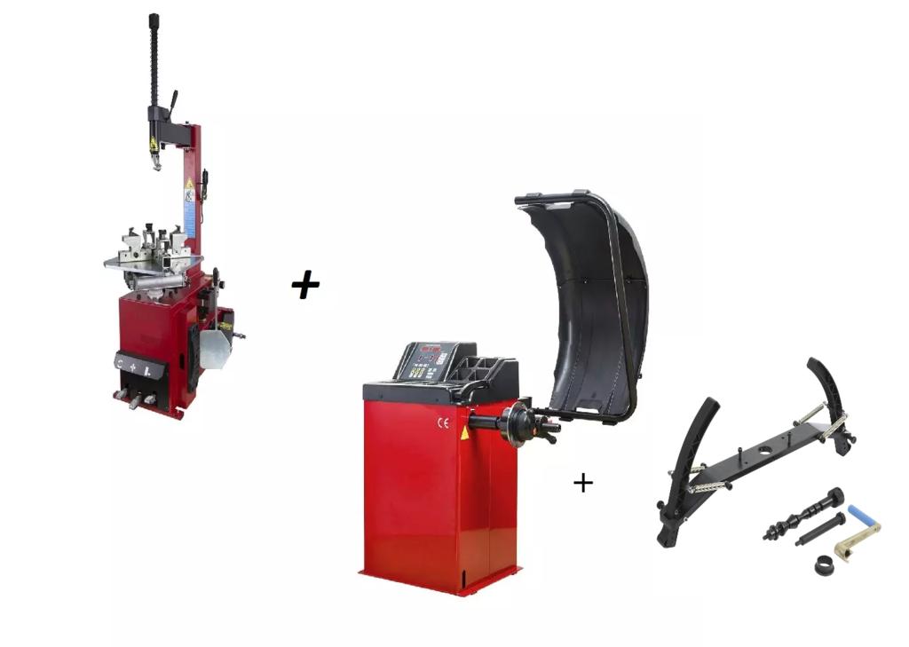 Pack Machine À Pneu Moto + Équilibreuse + Adaptateur Jante Moto 220V