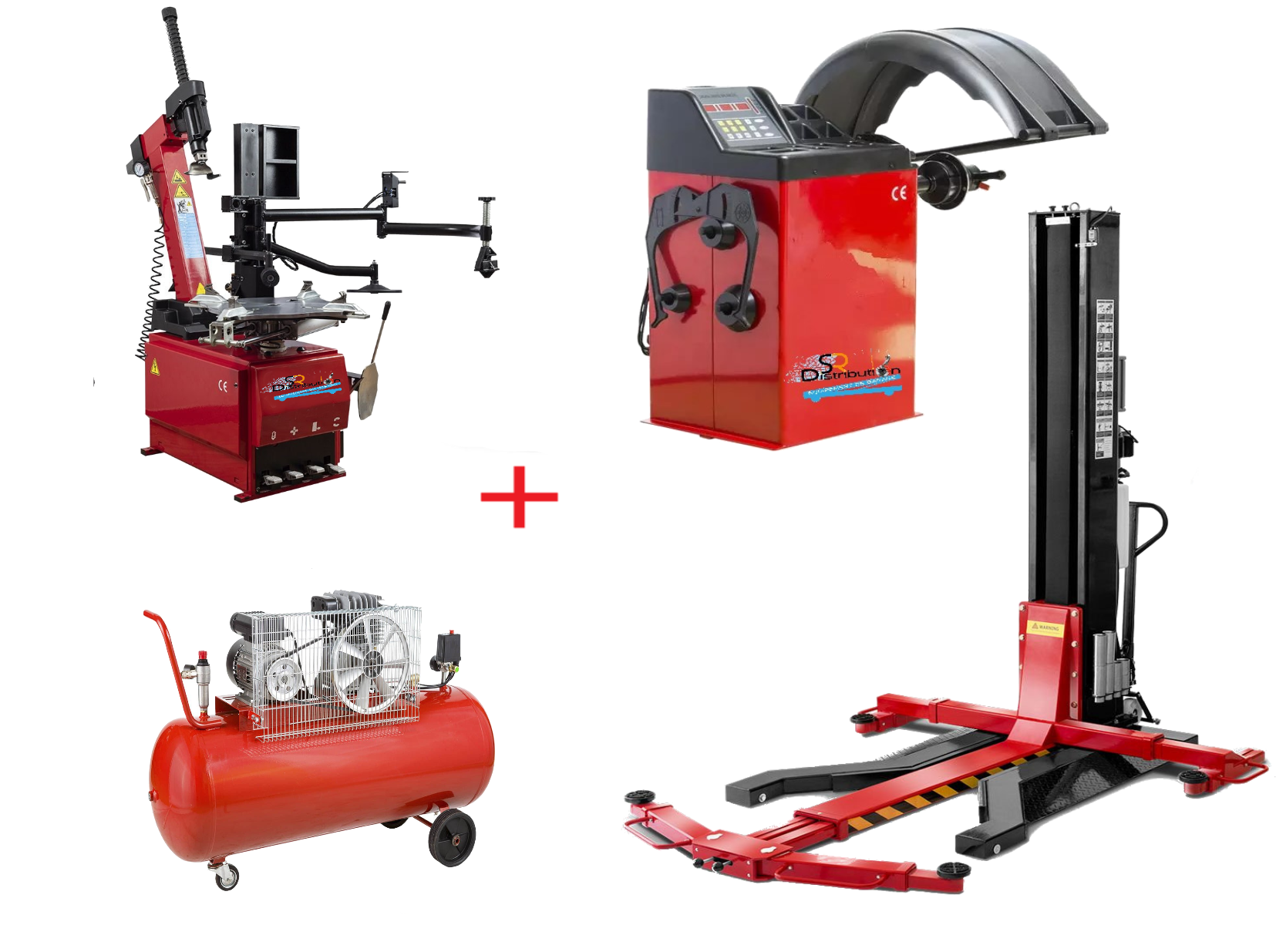 Pack Montage Équilibrage Runflat + Compresseur + Pont Mobile 220 Volts