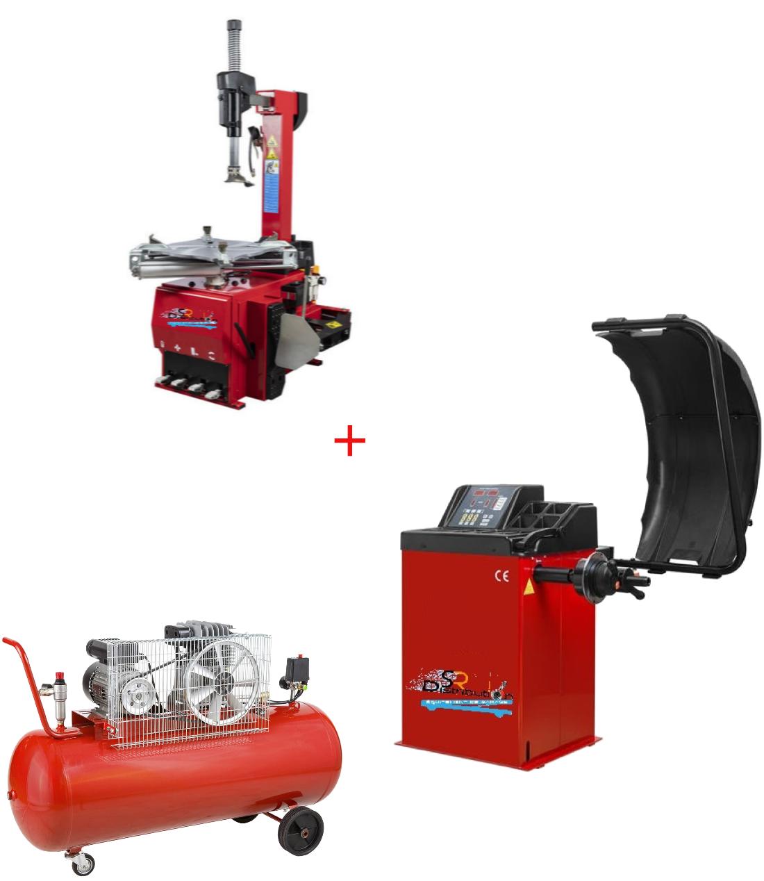 Pack Machine Démonte Pneu Automatique 24 Pouces + Équilibreuse de roue semi auto + Compresseur 220V
