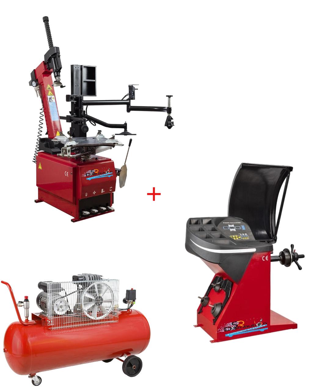 Machine Démonte Pneu Runflat + Équilibreuse de roue automatique + Compresseur 220V