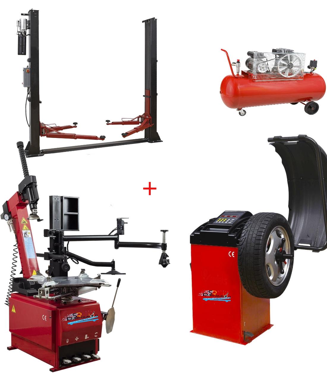 Pack Montage Équilibrage RunFlat Automatique Pro + Compresseur + Pont 220 Volts