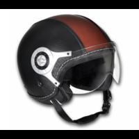 Casque moto en cuir noir et marron Taille XL