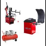 Machine Démonte Pneu Runflat + Équilibreuse de roue automatique Pro + Compresseur 220V