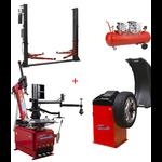 Pack Machine Démonte Pneu RunFlat   Équilibreuse de roue Automatique Pro   Compresseur 150L   Pont Élévateur 2 colonnes 220 Volts