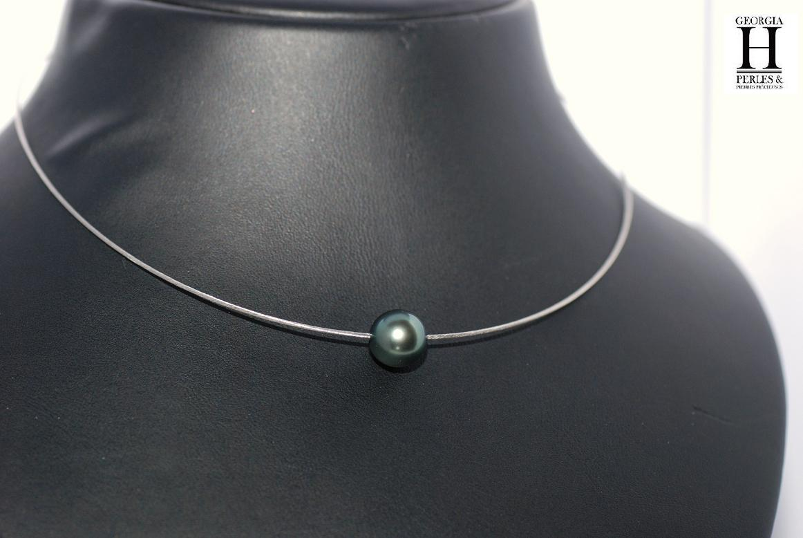 SOLITAIRE necklace white gold wire with 1 Tahiti pearl