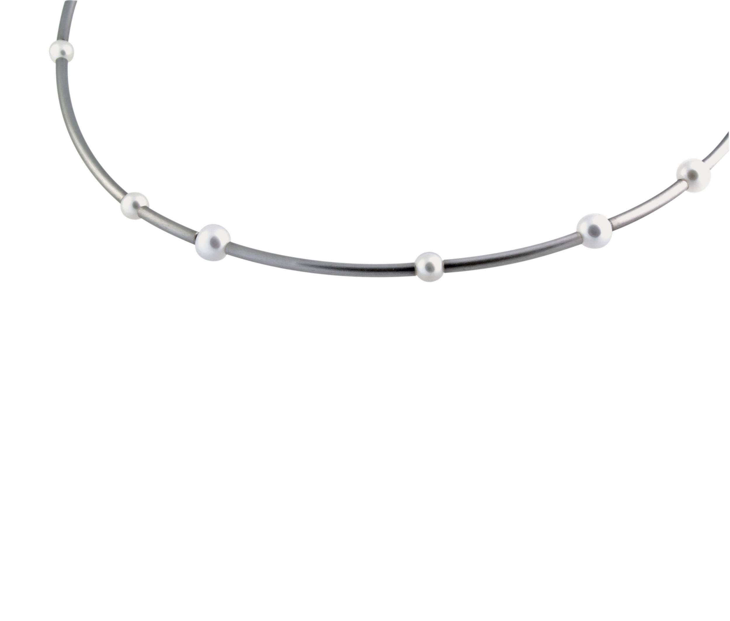 Staineless steel sticks choker 13 white freshwater pearls