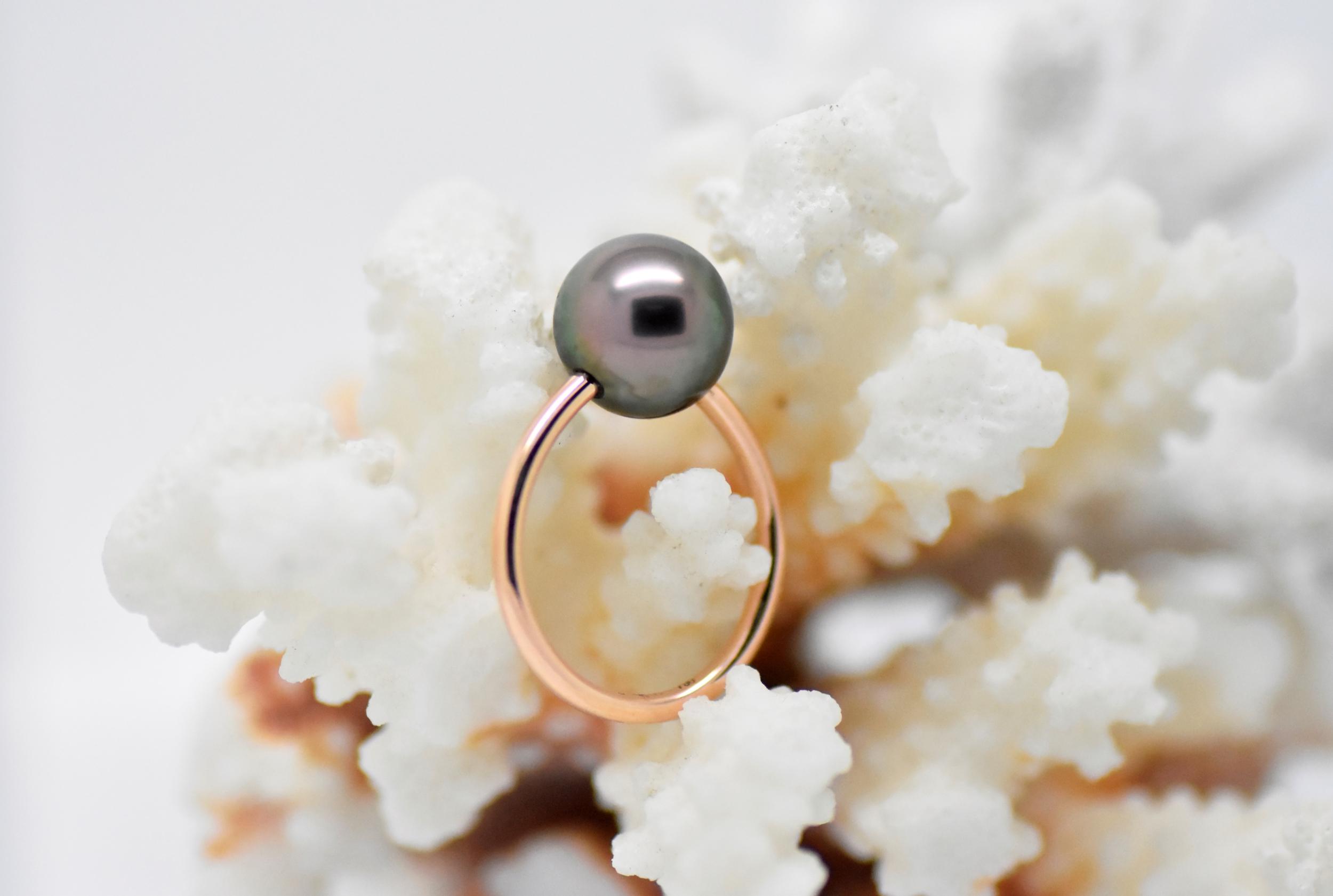 ESSENTIAL rose gold ring 1 Tahiti pearl