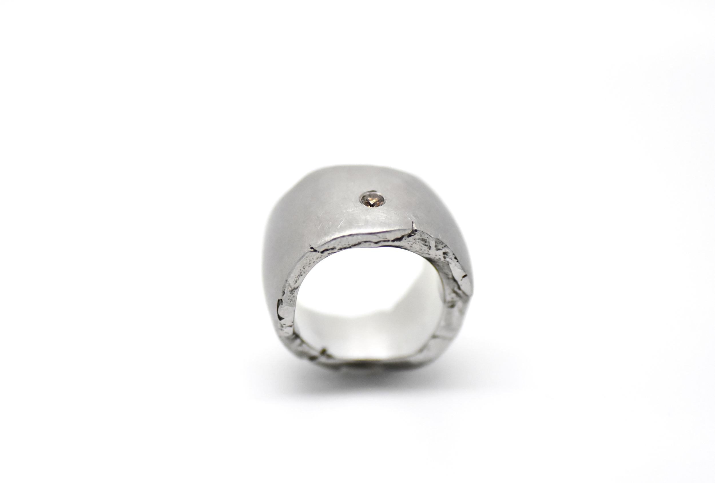 ROCK ring stainless steel 1 fancy color diamond