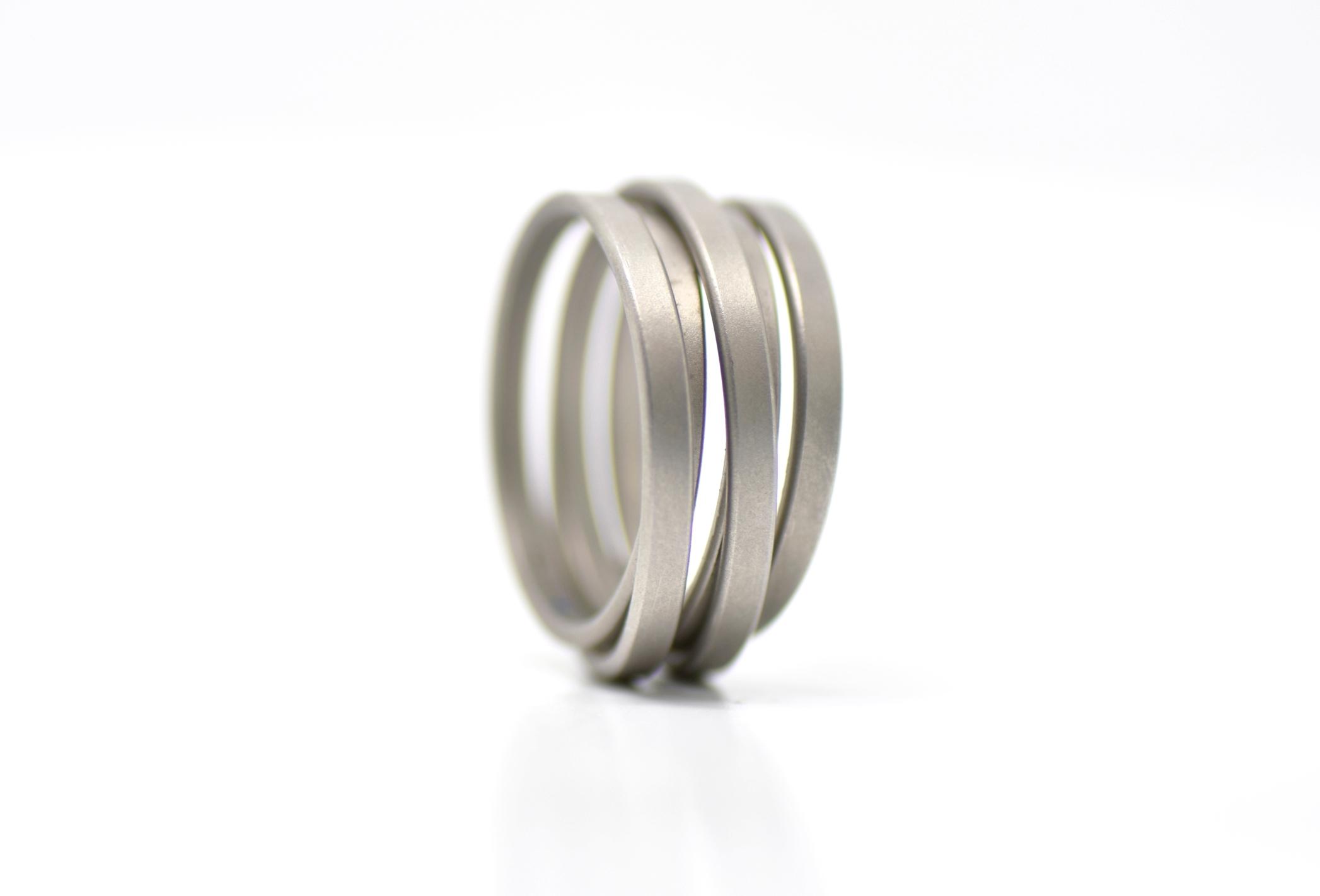 SATURN matt brushed stainless steel 5 ring