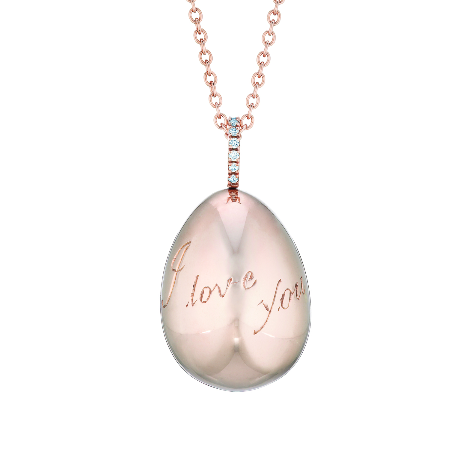 FABERGÉ IMPERIAL I LOVE YOU ROSE GOLD EGG PENDANT