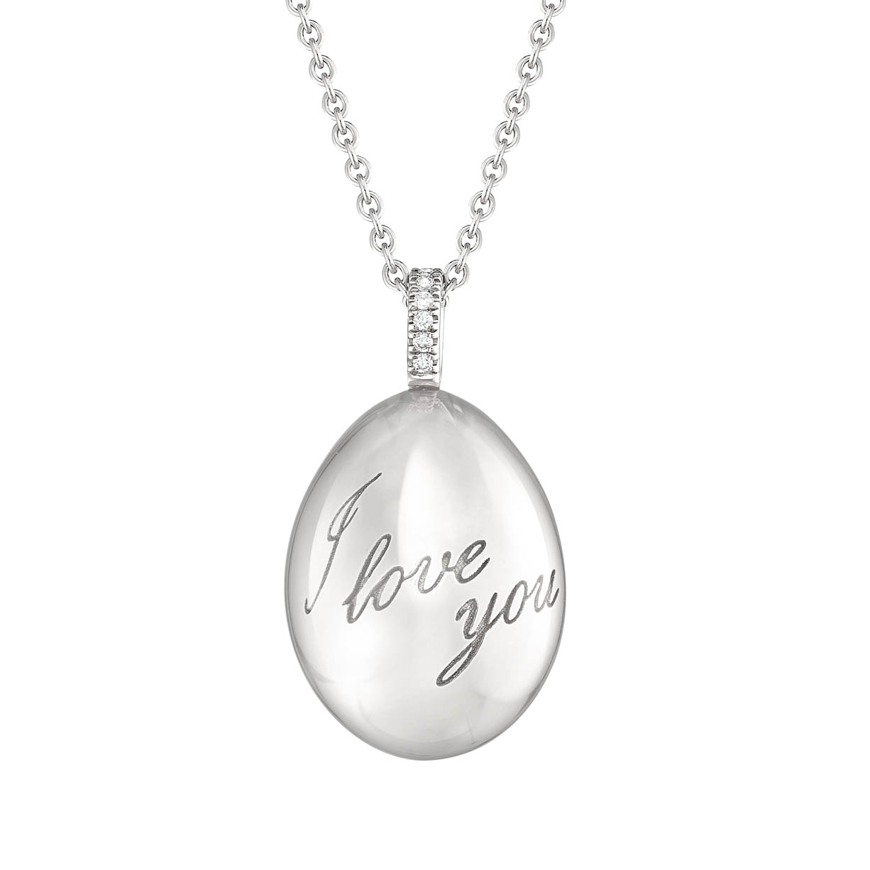 FABERGÉ IMPERIAL I LOVE YOU WHITE GOLD EGG PENDANT