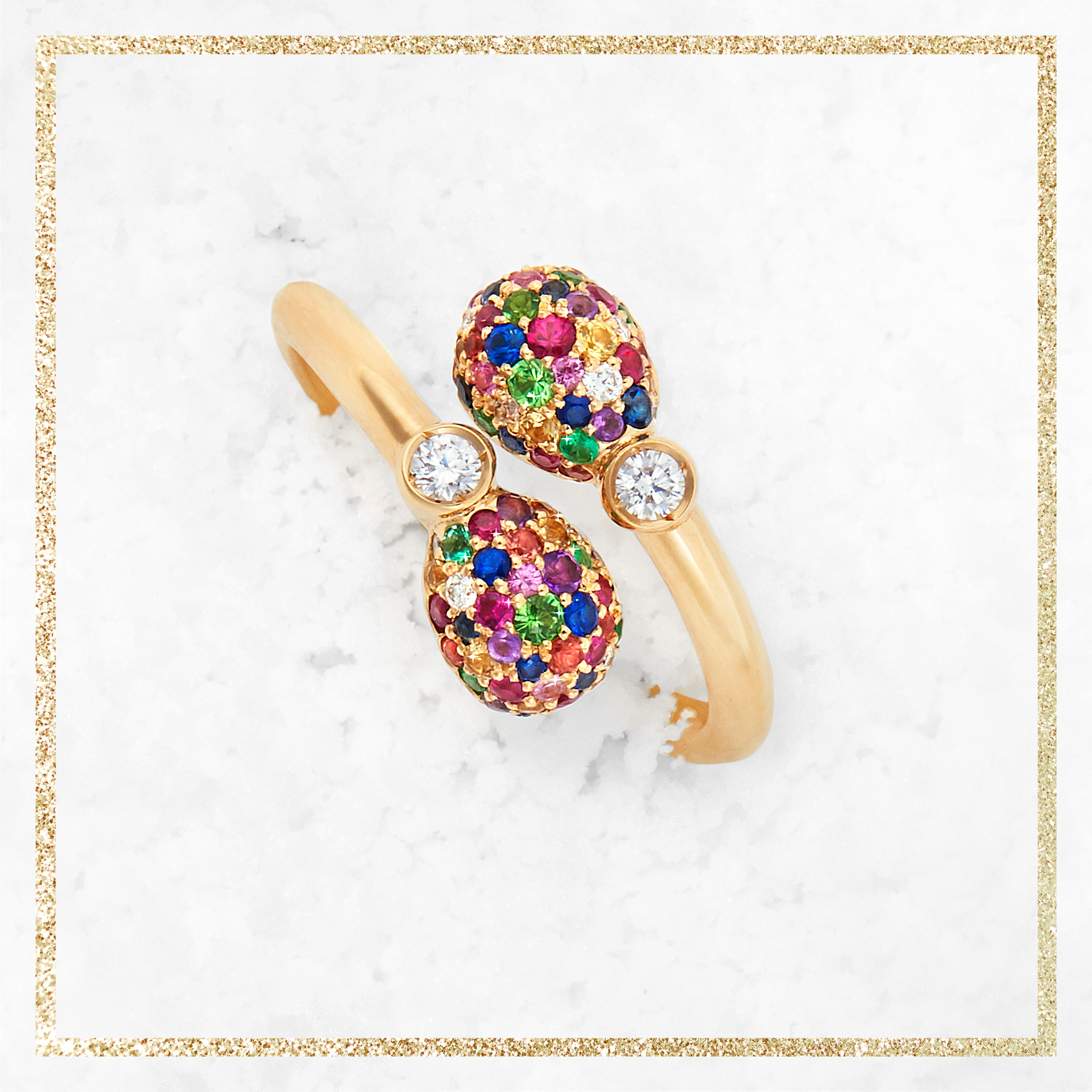 FABERGÉ EMOTION MULTI-COLOURED CROSSOVER RING