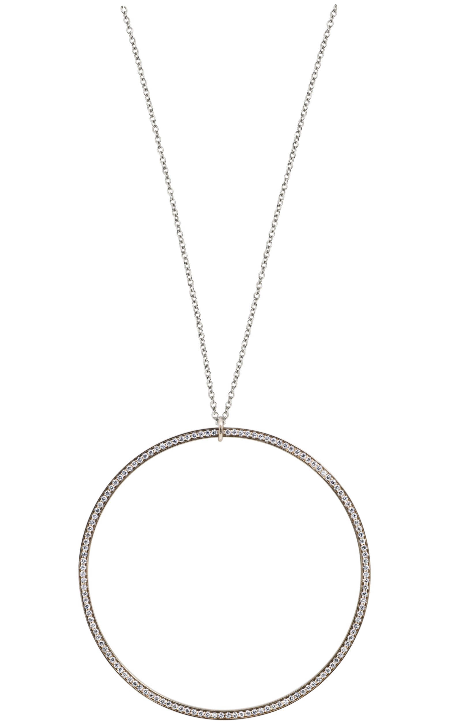 SATURN large ring pendant rose gold set with diamond and stainless steel chain