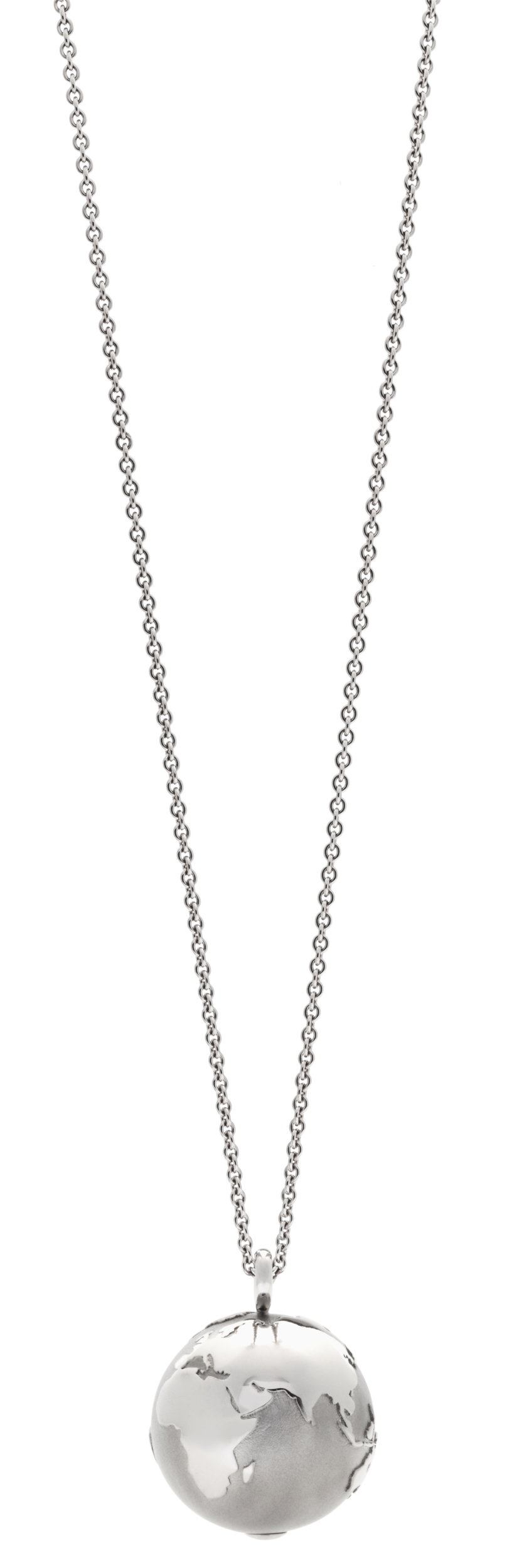 Necklace MY WORLD earth pendant stainless steel 19 mm set with 1 diamond