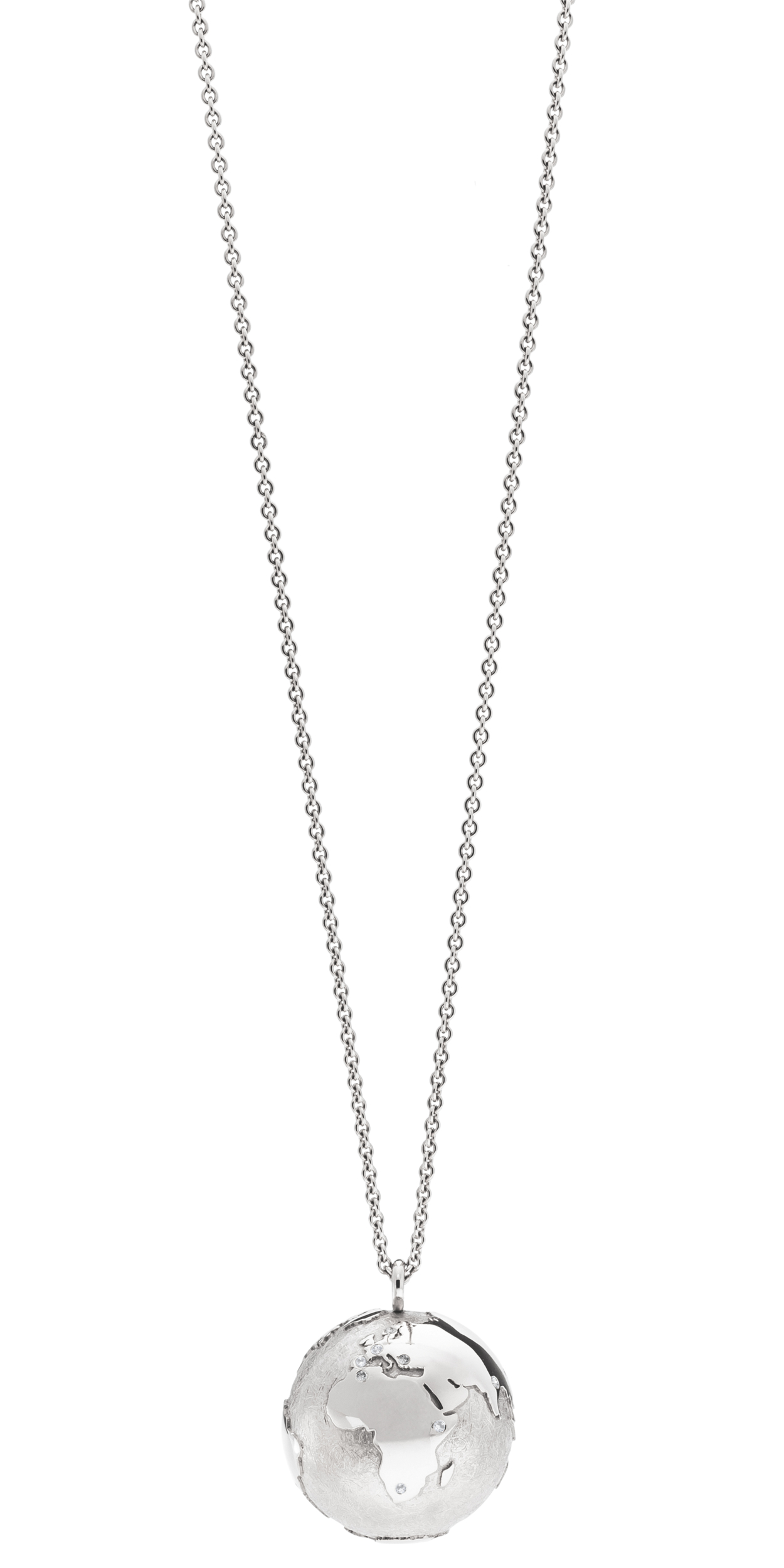 Necklace MY WORLD platinum earth pendant 23 mm and chain 90 cm