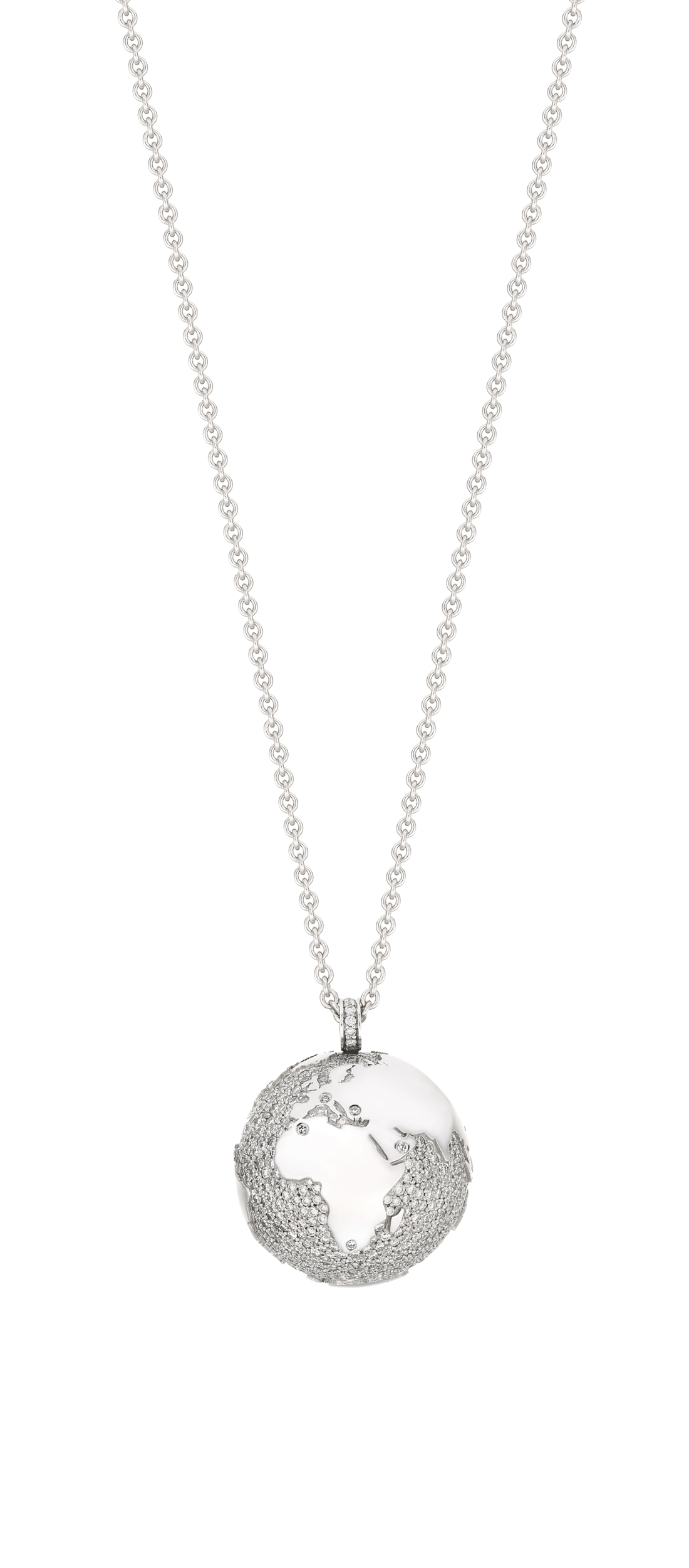 Necklace MY WORLD white gold and diamond earth pendant 23 mm chain 90 cm limited edition