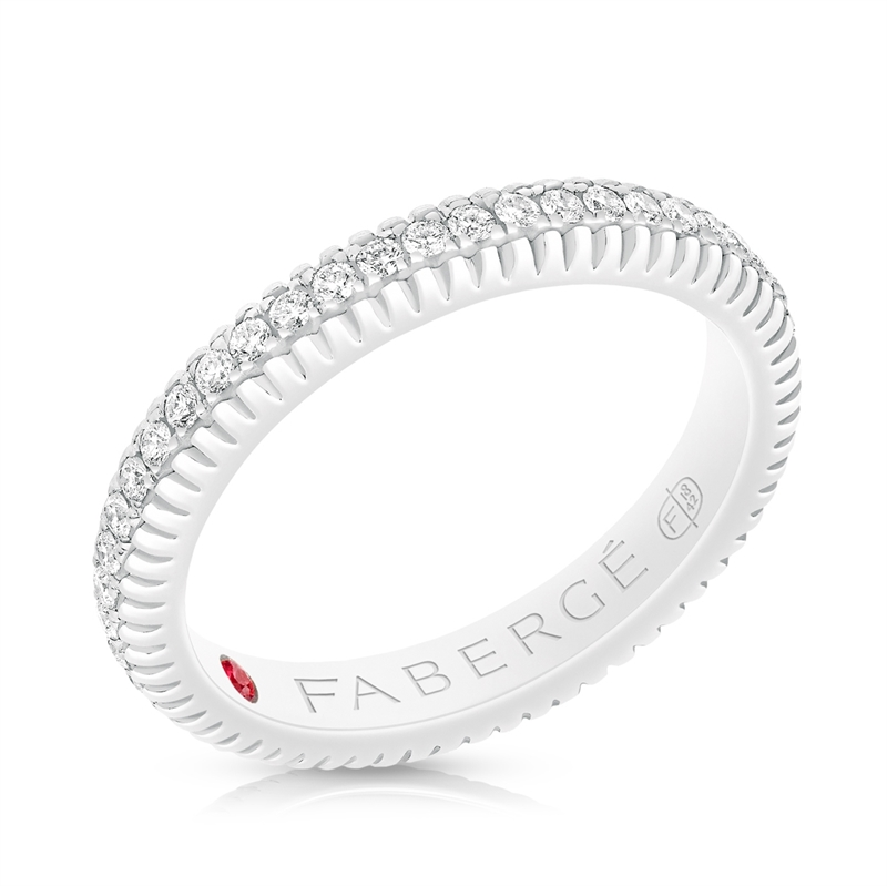 FABERGÉ WHITE GOLD DIAMOND FLUTED BAND