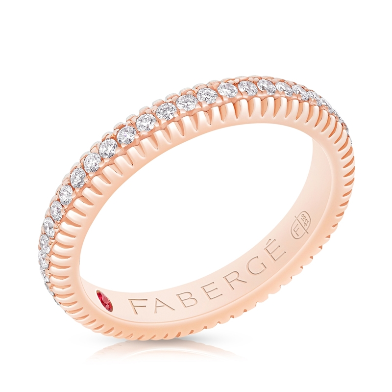 FABERGÉ ROSE GOLD DIAMOND FLUTED BAND