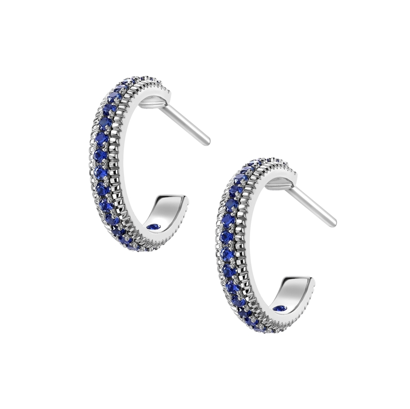 FABERGÉ WHITE GOLD SAPPHIRE FLUTED HOOP EARRINGS