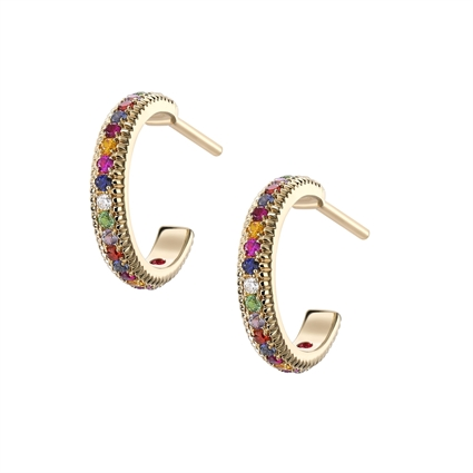 FABERGÉ YELLOW GOLD MULTI STONE FLUTED HOOP EARRINGS