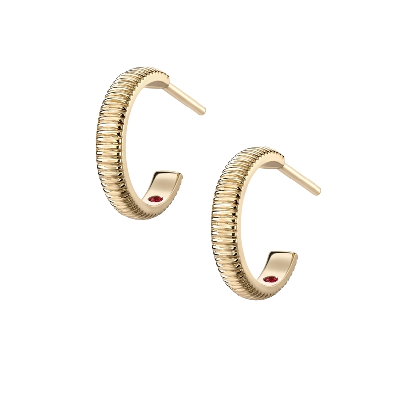 FABERGÉ YELLOW GOLD PLAIN FLUTED HOOP EARRINGS