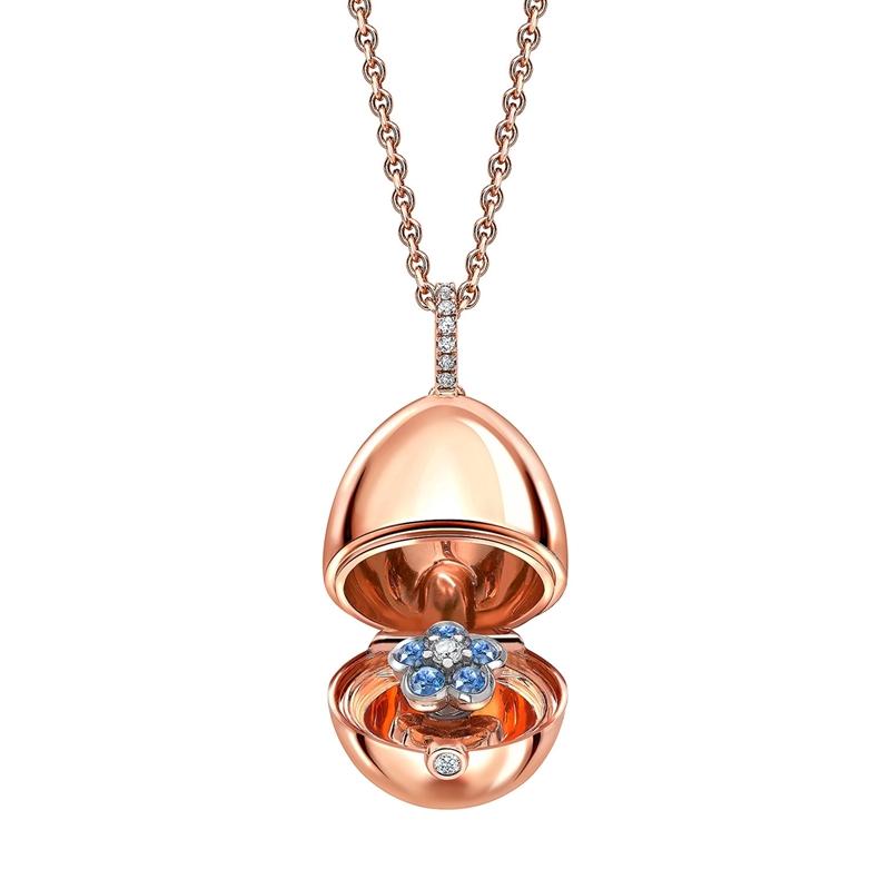 FABERGÉ IMPERIAL ROSE GOLD, BLUE SAPPHIRE & DIAMOND FORGET-ME-NOT SURPRISE EGG PENDANT