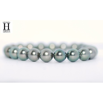 Bracelet Princesse avec perles de tahiti vert amande