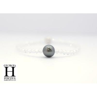 """Manhattan"" white swarovski crystal type bracelet and 1 Tahiti pearl"