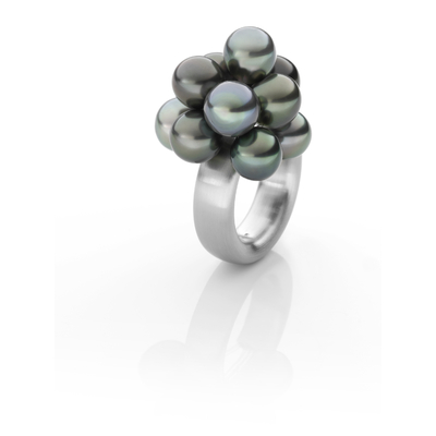 """""""CLOUD"""" ring hypoallergenic matte brushed steel with 10 Tahiti pearls"""