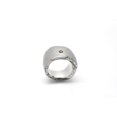 """""""ROCK"""" ring stainless steel 1 fancy diamond brown color"""