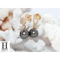 Pendientes oro amarillo, 30 diamantes talla brillante y 2 perlas de Tahití de 10 mm de color cola de pavo real oscuro