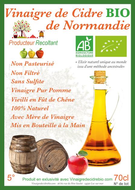 Bien connu Vinaigre de Cidre Bio Non Pasteurisé Non filtré Vieilli Fût Chêne LG39