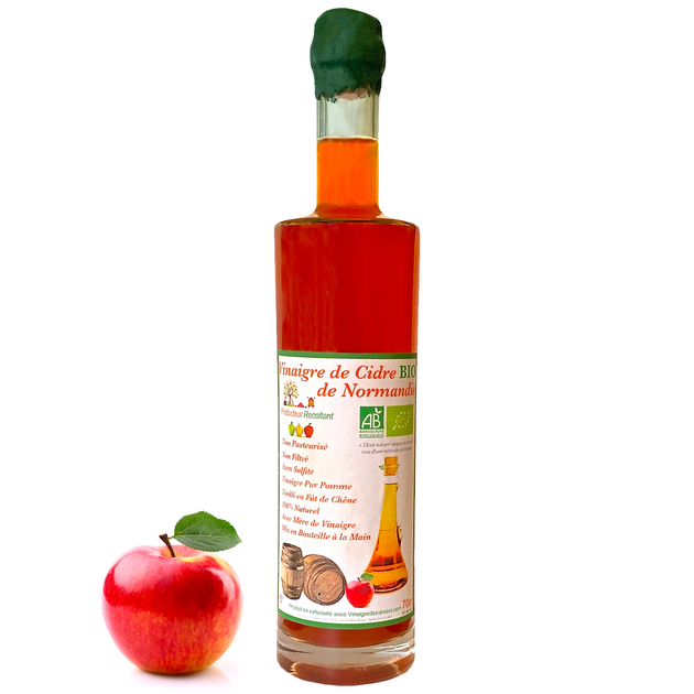 Vinaigre de Cidre Bio Non Pasteurisé Non filtré Vieilli en Fût de Chêne - Bouteille 70cl