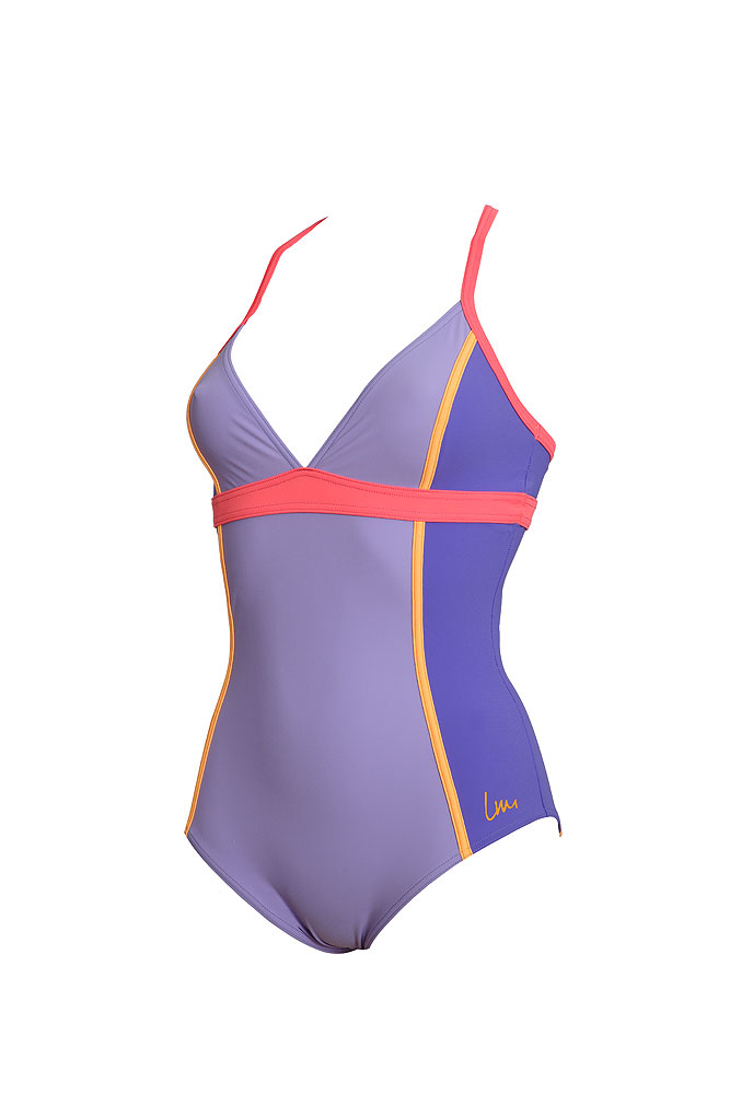 1383f8069b8af Costume da piscina due pezzi modellante viola - Laure Manaudou