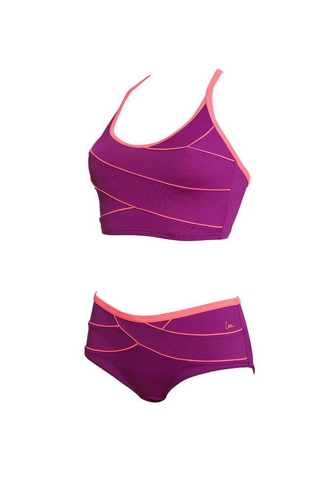Laure manaudou costume da piscina due pezzi viola modellante - Costumi piscina due pezzi ...