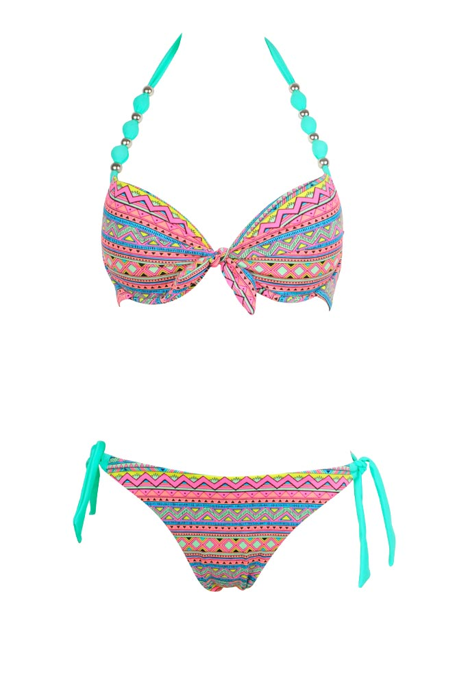 Costume a 2 pezzi da donna bikini con stampa azteca multicolore - Marche costumi da bagno ...