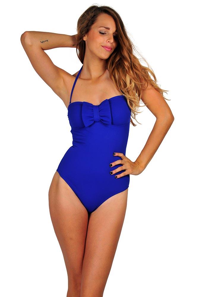 Costume da bagno da donna blu bikini collezione estate 2016 - Costume da bagno intero a pantaloncino ...