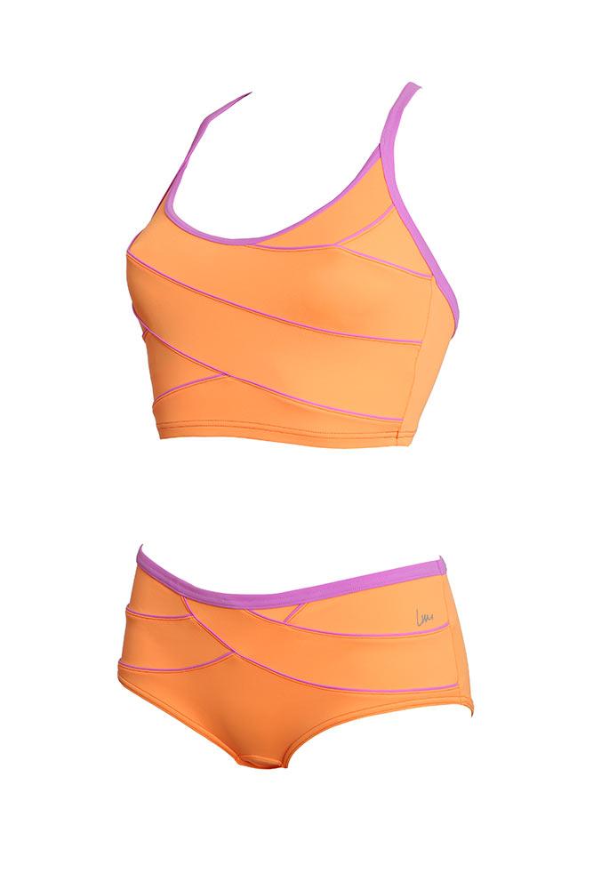 Costume da piscina due pezzi modellante viola laure manaudou for Costumi due pezzi piscina