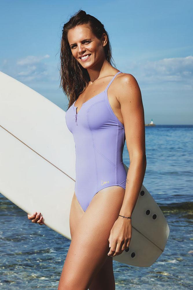 Costume intero modellante da piscina Vesta grigio Laure Manaudou