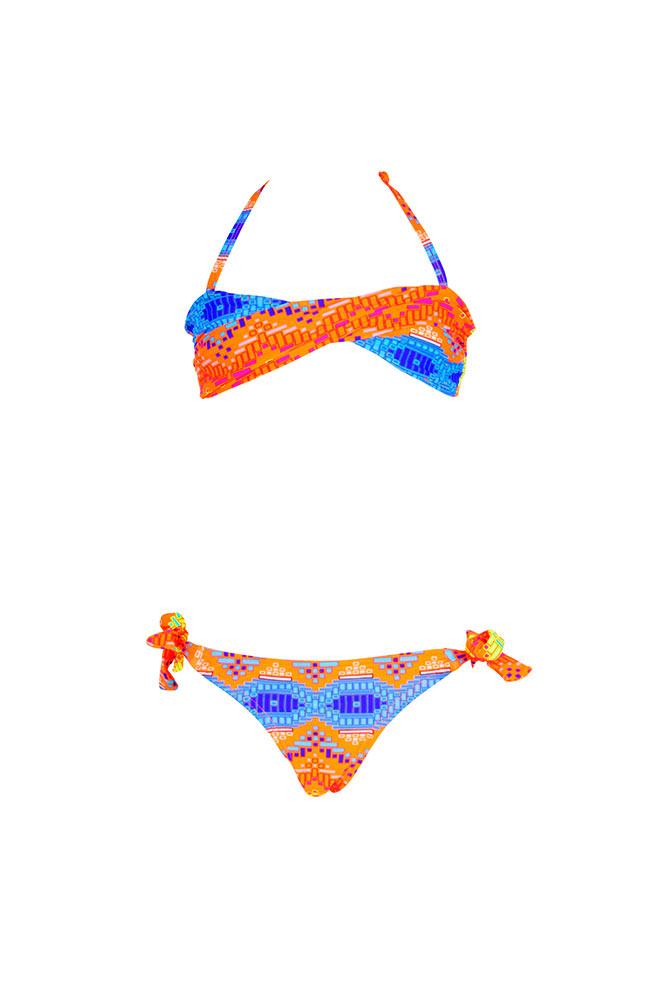 Costume due pezzi a fascia multicolore per bambina economico for Costumi due pezzi piscina