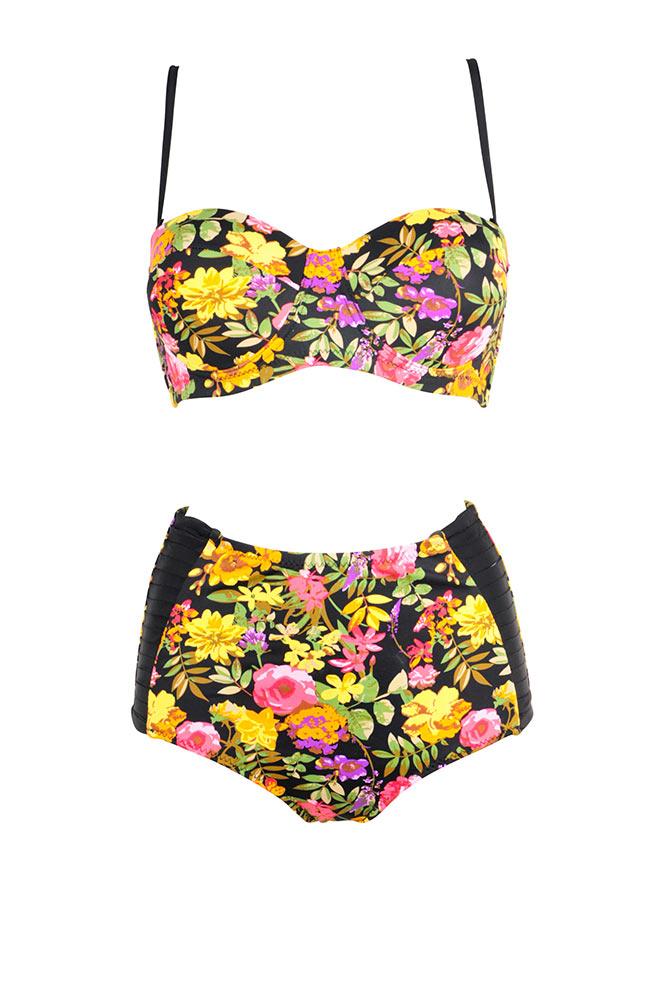Costume due pezzi push up vita alta nero a fiori bikini donna - Marche costumi da bagno ...