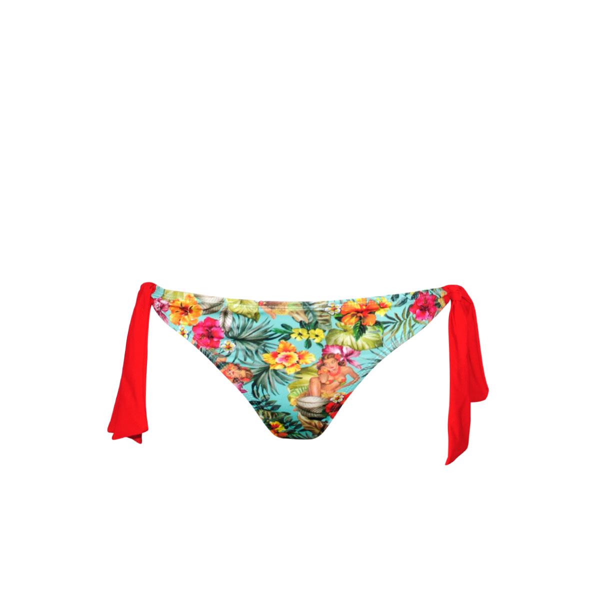 Slip di costume da bagno rosso con fiocchi Ma Culotte Hawaï (Pezzo sotto)